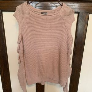 Express- pink cut out sleeve sweater- small